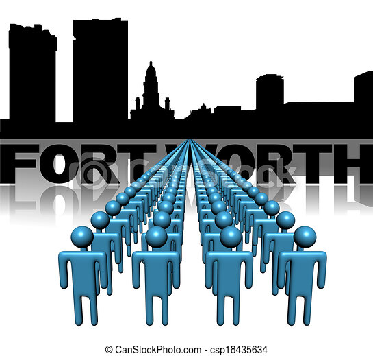 Lines of people with Fort Worth skyline illustration - csp18435634