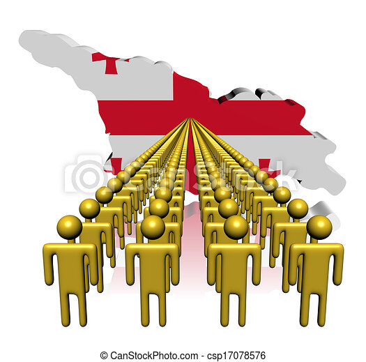 Lines of people with Georgia map flag illustration - csp17078576