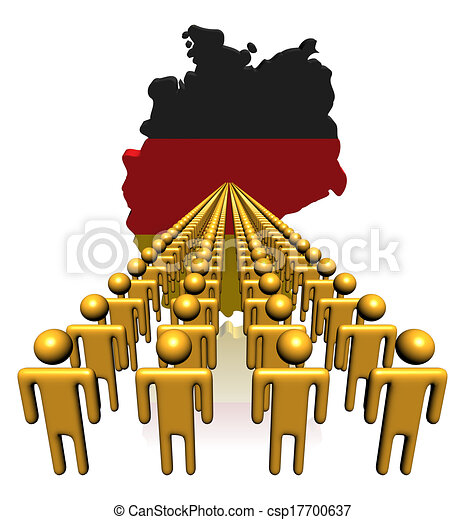 Lines of people with Germany map flag illustration - csp17700637