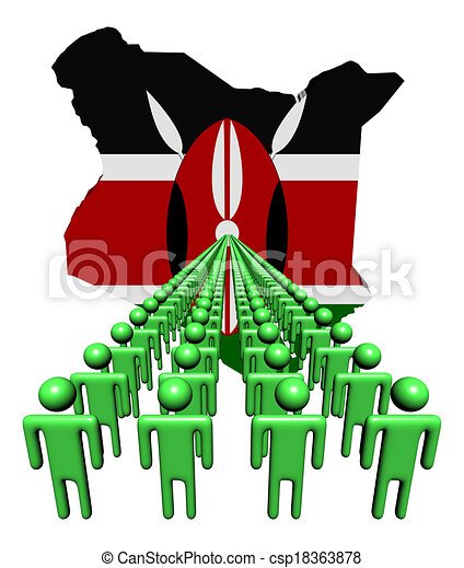 Lines of people with Kenya map flag illustration - csp18363878