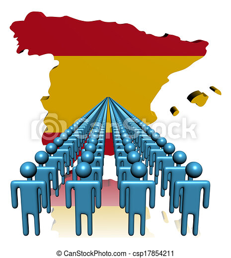 Spain Map Flag.Lines Of People With Spain Map Flag Illustration
