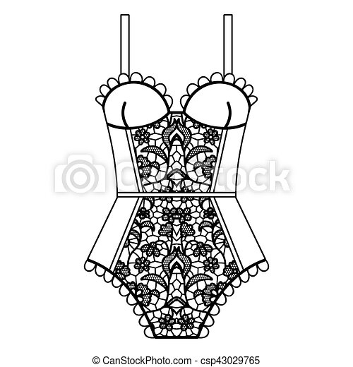 Lingerie Body Bonito Corporal Body Ilustracao Vetorial
