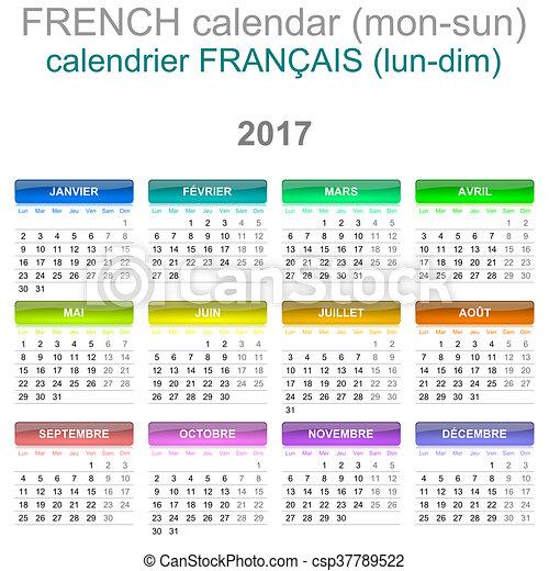 Cerca Calendario.Lingua Lunedi Francese Domenica Versione 2017 Calendario