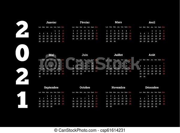 Lingua, semplice, francese, scuro, 2021, fondo, anno, calendario