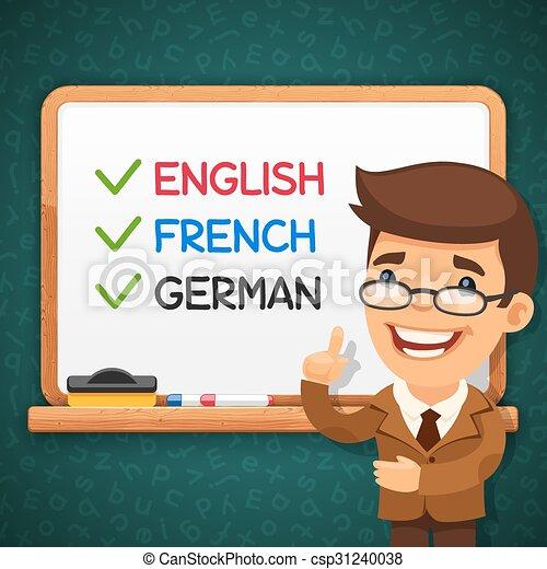 linguagens, frente, whiteboard, professor, estrangeiro - csp31240038