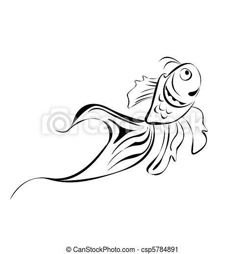 linha arte, peixe - csp5784891