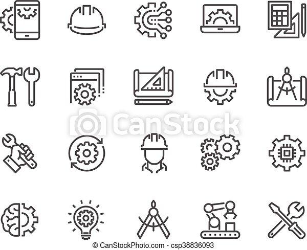 linha, engenharia, ícones - csp38836093