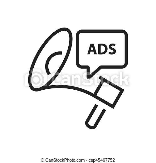 linha, megafone, anúncio, ícone - csp45467752