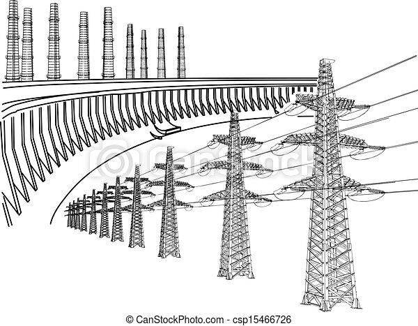 linha transmissão, poder - csp15466726