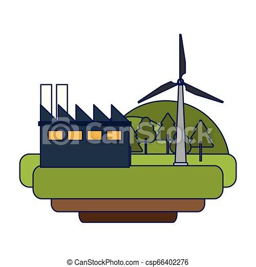 linhas azuis, energia, turbinas, verde, vento - csp66402276