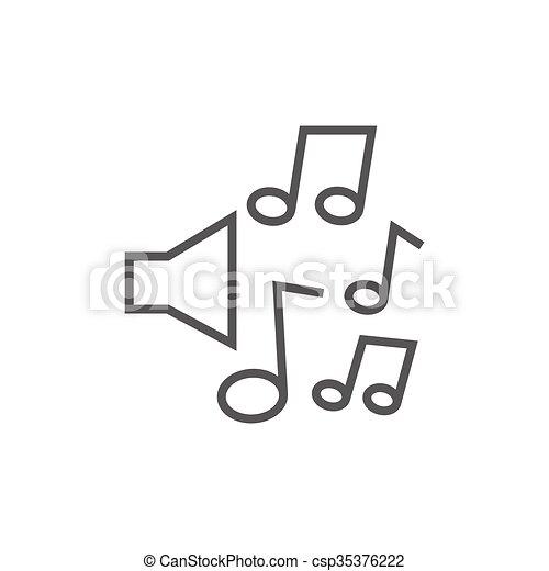 Linie, notizen, musik, icon., lautsprecher. Ränder,... Vektor ...