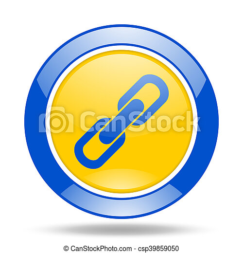 link blue and yellow web glossy round icon - csp39859050