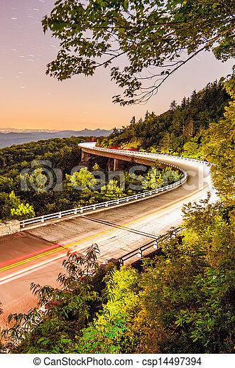 linn cove viaduct at night - csp14497394
