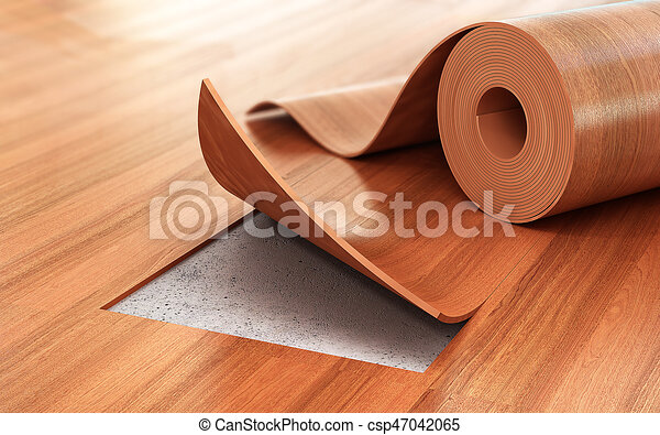 Linoleum Coating Flooring Installation 3d Illustration