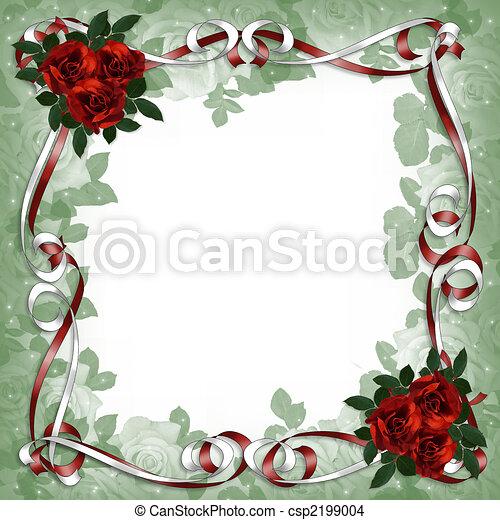 linten, rozen, rood, floral rand, satijn - csp2199004