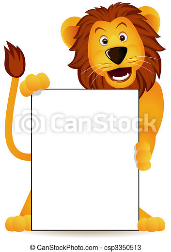 Lion and banner - csp3350513