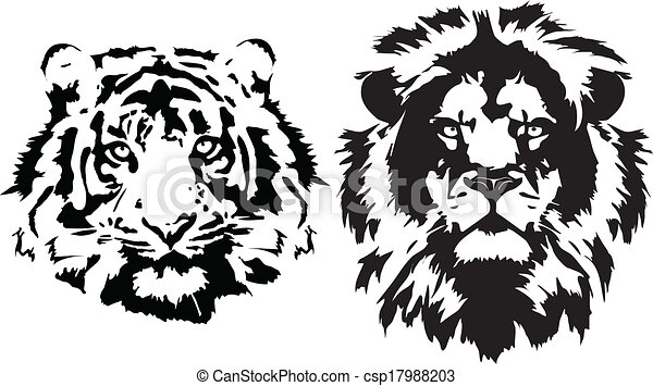 Line Drawing Lion Head : Lion and tiger heads in black head