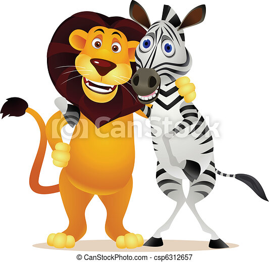 lion and zebra - csp6312657