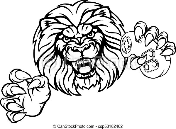 lion angry esports mascot a lion angry animal esports video clip rh canstockphoto com