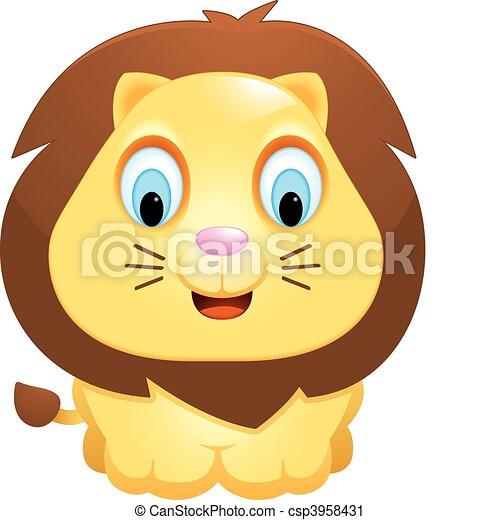 Lion Bébé Debout Sourire Lion Bébé Dessin Animé Heureux