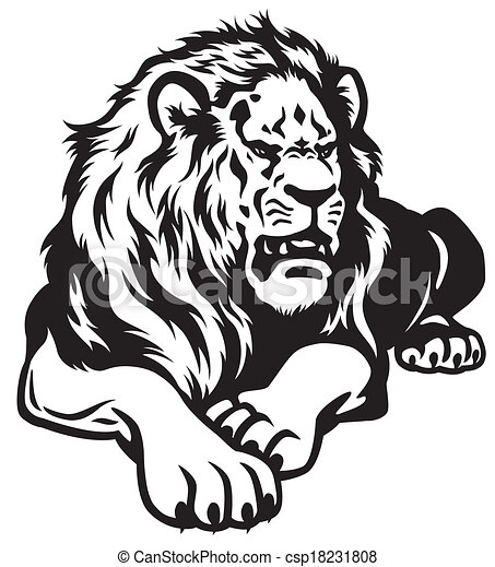 Lion black white csp18231808