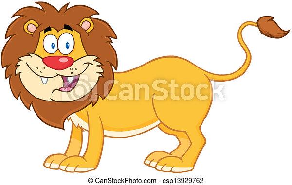 lion, caractère, dessin animé, mascotte - csp13929762