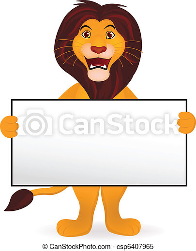 Lion cartoon and blank sign - csp6407965
