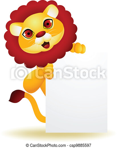 Lion cartoon with blank sign  - csp9885597