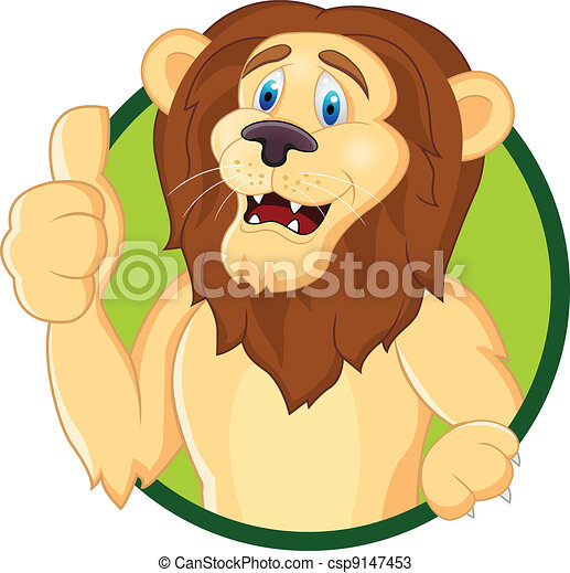 Lion cartoon with thumb up  - csp9147453