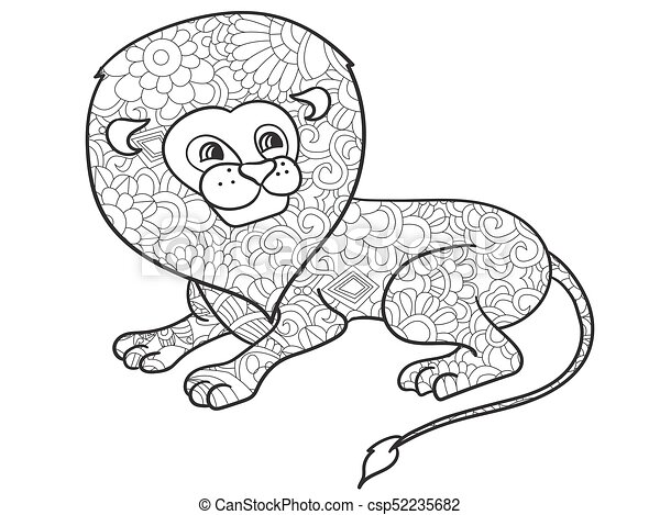Lion Coloring Vector For Adults Animal