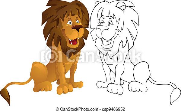 dessin de lion en couleur banque dimages lion mignon dessin anim animaux icne image vector. Black Bedroom Furniture Sets. Home Design Ideas