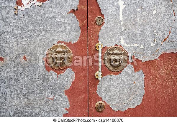 Lion Door Handles in a Beijing Hutong - csp14108870