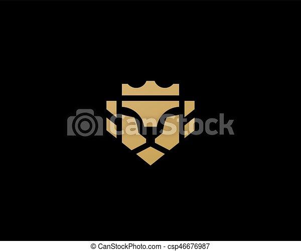 Lion Face Crown Logo Design Universal Premium Vector Logotype