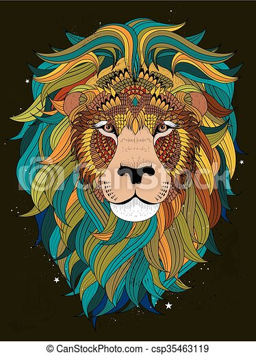 Lion head coloring page . Attractive fluffy lion head - adult ...