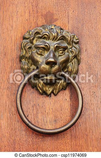 Lion head door knob. Lion head door knob, prague. stock image ...