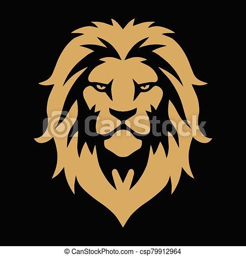 Lion Head Gold Golden Logo Vector Template Illustration Design - csp79912964