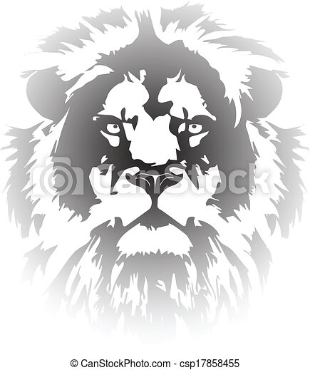 lion head gradient tattoo - csp17858455