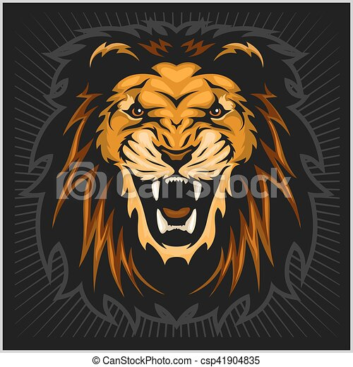 Lion head illustration - csp41904835