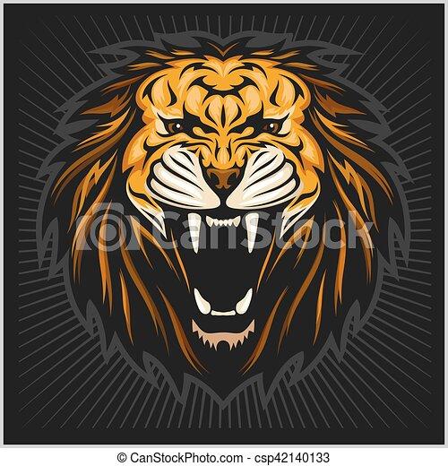 Lion head illustration - csp42140133