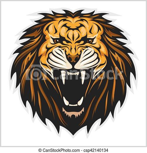 Lion head illustration - csp42140134