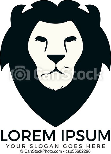 lion head logo design csp55682298