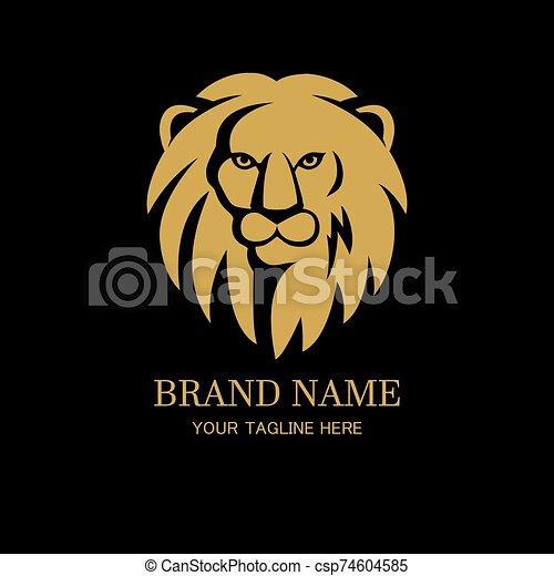Lion head logo design template - csp74604585