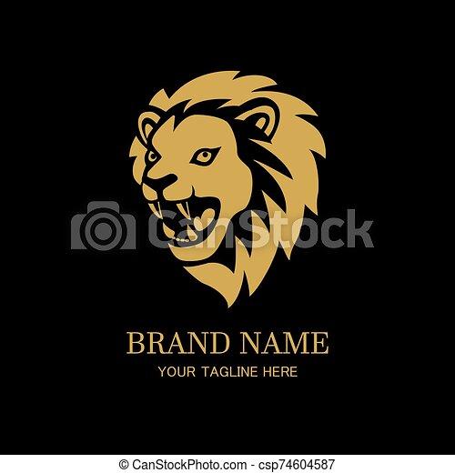 Lion head logo design template - csp74604587