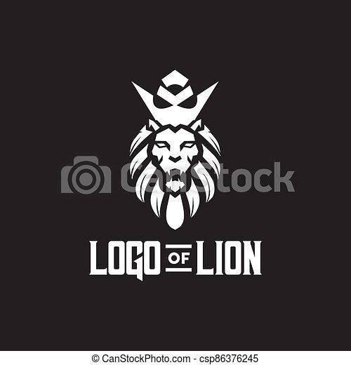 Lion head logo design template - csp86376245