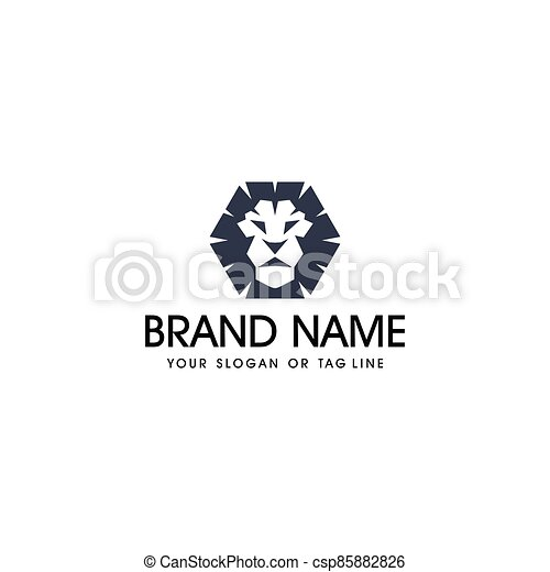 lion head logo design vector - csp85882826