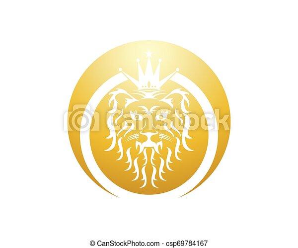 Lion head logo design vector template - csp69784167