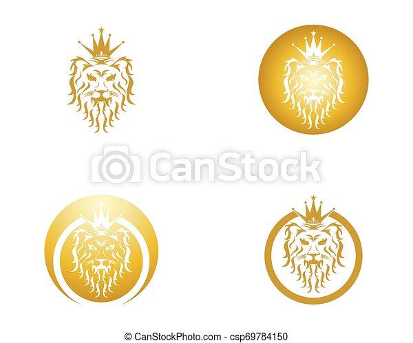 Lion head logo design vector template - csp69784150