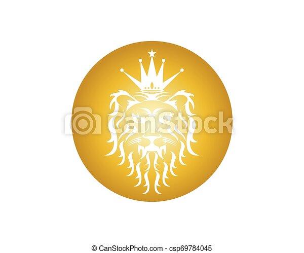 Lion head logo design vector template - csp69784045