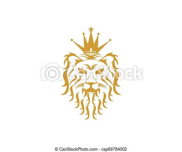 Lion head logo design vector template - csp69784002