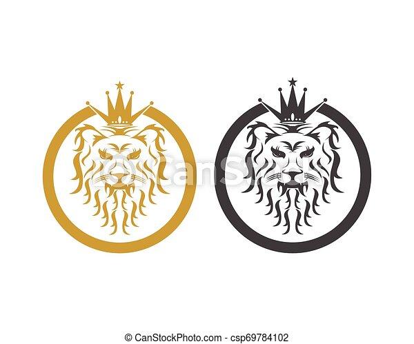 Lion head logo design vector template - csp69784102